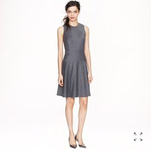 J. Crew pleated stretch flannel gray dress 0